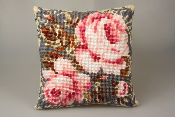 Collection d'Art:5.052 - Rose Ancienne - Easy to stitch large count cross stitch cushion kit - On Sale Now - 40% Discount - Original Retail Price $40.00