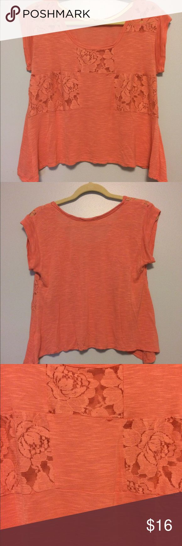 Coral shirt Loose, flowy coral t-shirt with lace patches. Rewind  Tops Tees - Short Sleeve