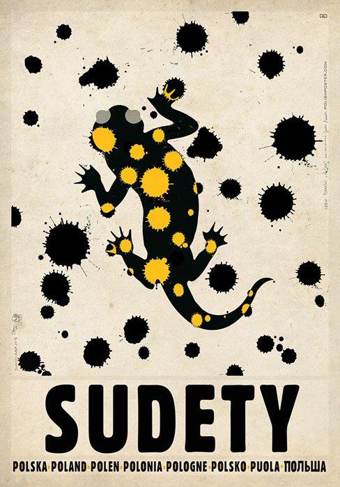 Sudety Mountains, Salamandra | Polish Promotion Poster, PLAKAT-POLSKA series, designer: Ryszard Kaja, year: 2013