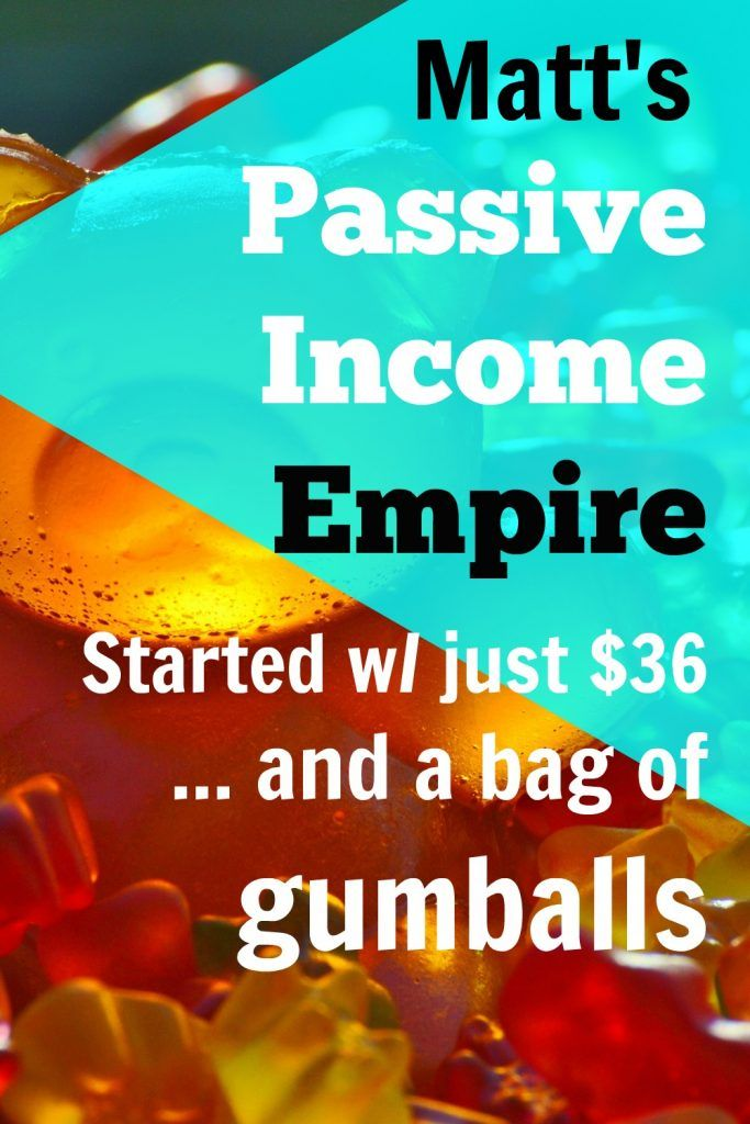 """Dude, quarters fell out all over the floor,"" Matt explained his first taste of passive income in his vending machine side hustle. Matt's passive income empire started with just $36 and a bag of gumballs, aka how to make money with vending machines, via @sidehustlenation"