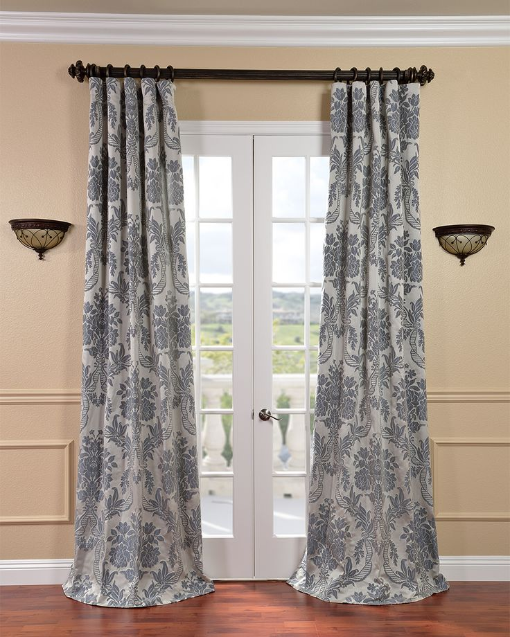 Exclusive Fabrics Magdelena Silver/ Blue Faux Silk Jacquard Curtain Panel (50W x 108L), Size 50 x 108 (All Synthetic, Damask)