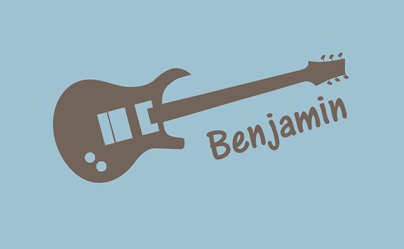 Guitar Vinyl Decal - Personalized Wall Decal - Monogrammed Vinyl Lettering - Boys Room Decor - Teenager Room Decor on Etsy, $18.00