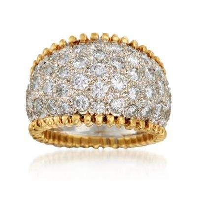 C. 1980 Vintage 3.50 ct. t.w. Pave Diamond Wide Ring in 18kt Yellow Gold. Size 6.5 — Alt Image 1