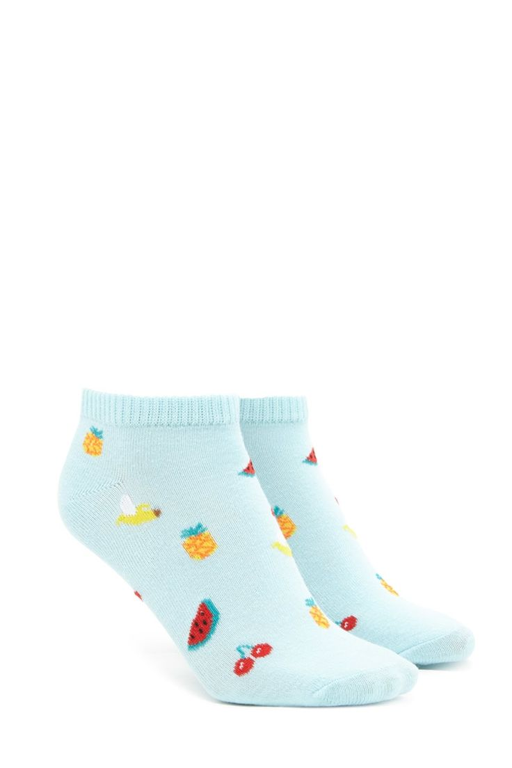 A pair of knit ankle socks featuring an allover fruit print including watermelon, cherries, bananas, and pineapples, and ribbed trim.