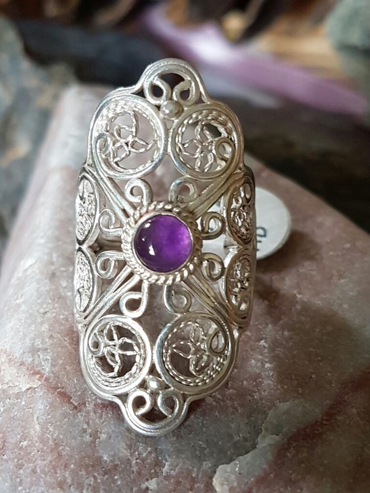 Amethyst filigree silver ring Haute Wired Jewelry