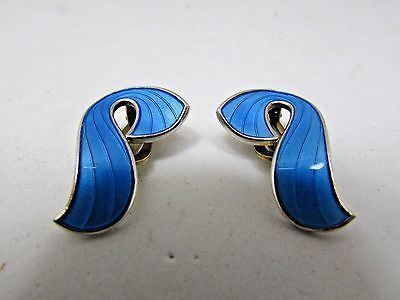 Vintage David Anderson Sterling Silver Norway Blue Enamel Earrings