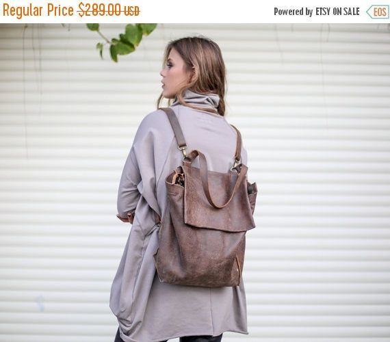 Sale Shoulder Backpack Bag Brown Leather Backpack Purse