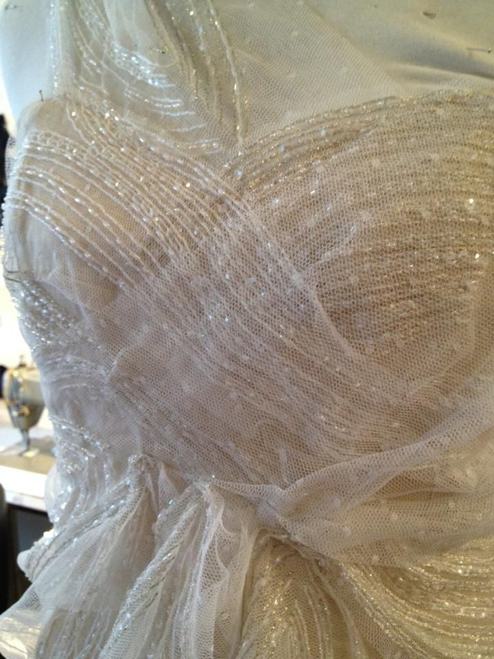 Stunning beaded fabric on a bridal gown in the works!
