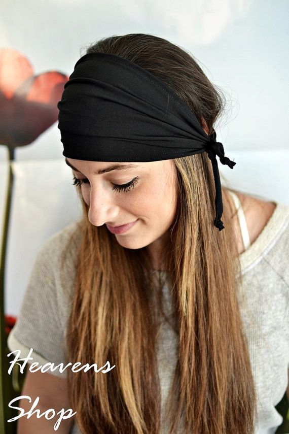 Black Turban Headband Women's Jersey Turband Wide by HeavensShop