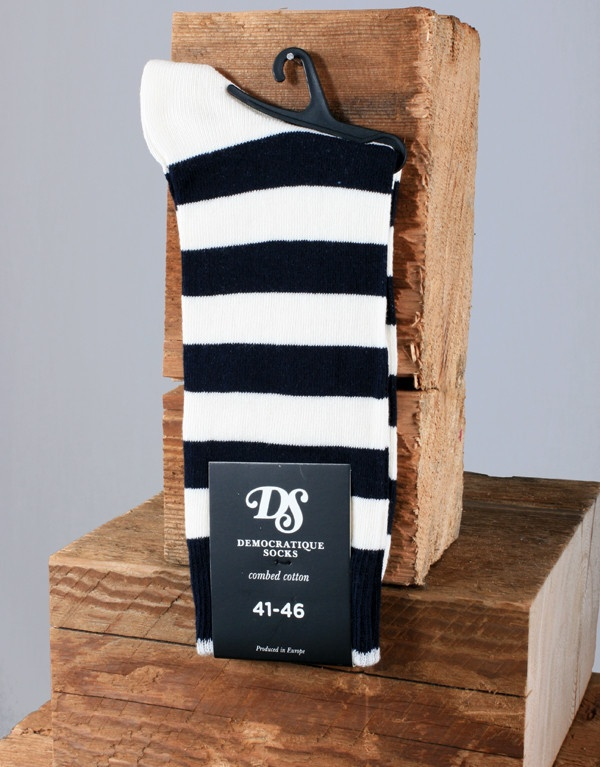 Democratique Socks Striped Sock - Navy Blue/White