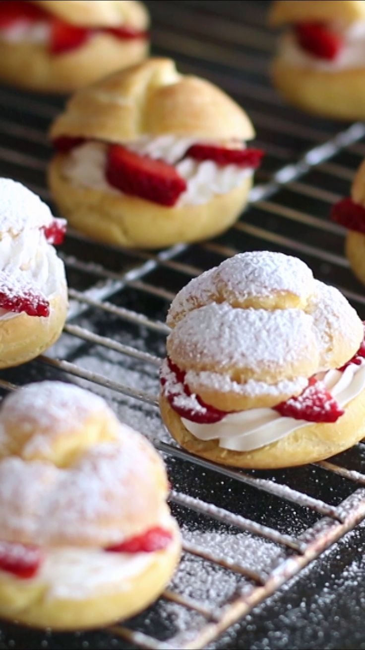 Recipe with video instructions: Strawberry and cream puffs guaranteed to please. Ingredients: 1 cup (125 g) flour, 3.5 oz (100 ml) milk, 3.5 oz (100 ml) water, 2 tsp (10 g) sugar, 1/2 tsp salt, 5 1/2 tbsp (80g) unsalted butter, 4 eggs, Filling, 2 cups (480g) heavy cream, 1⁄3 cup (40g) powdered sugar, 1 tsp (5g) vanilla extract, Fresh strawberries, cut into slices tastemade.com