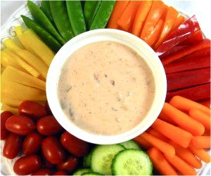 Veggies and a Skinny Salsa Ranch Dip...I've taken my homemade skinny ranch dressing, added some medium hot salsa to create a fabulous, zippy, ranch dip.  It's delicious served with a variety of veggies.  The skinny for 2 tablespoons is 35 calories, 2.5 grams of fat and 2 Weight Watchers POINTS PLUS.