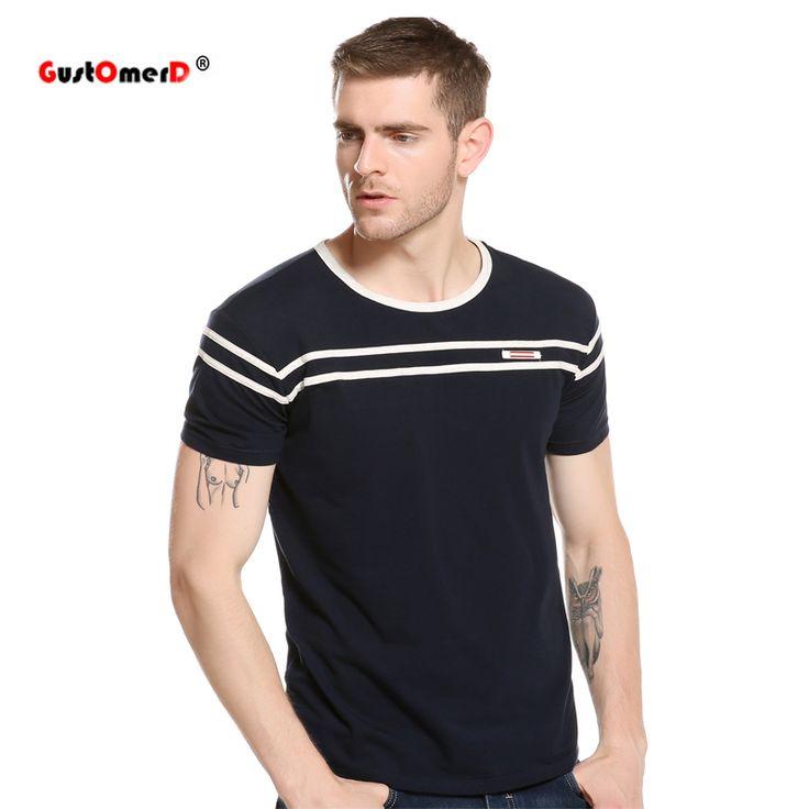 GustOmerD Summer Striped Design T-Shirt Men Slim Fit Short Sleeve Mens T-shirts Casual Slim Fit Tops Tee Compression T Shirt Men