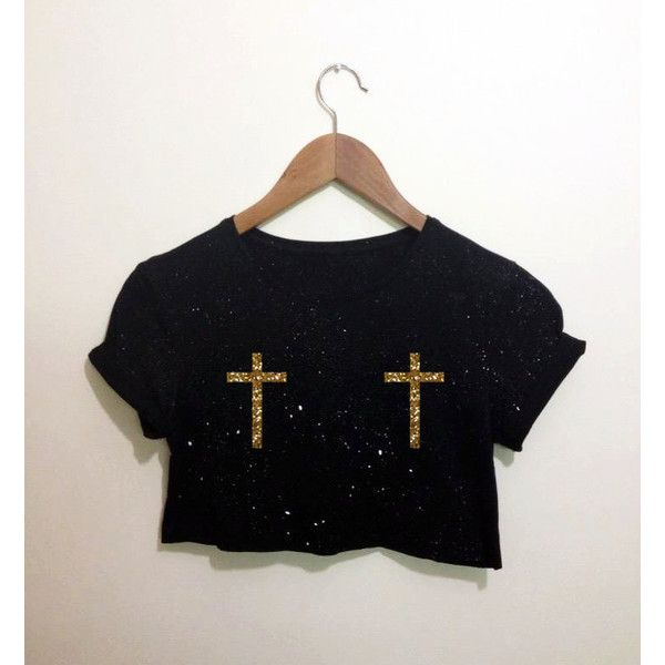 Cross Gold Glitter Black Crop Top T Shirt Festival Emo Hipster Kawaii ($15) ❤ liked on Polyvore featuring tops, retro crop top, glitter crop top, gold crop top, hipster tops and glitter top