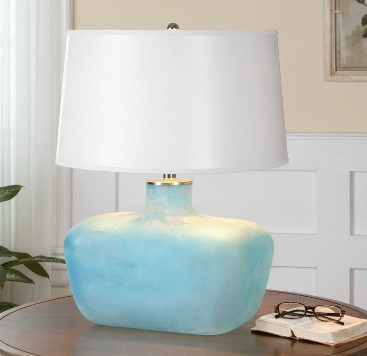 Such A Stunning Accent To Add Your Beach Home We Love The Sea Glass Feel And Texture This Heavily Frosted Blue Lamp Base Accented With Polished