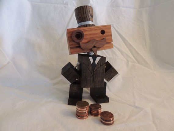 Wooden Mr Moneybags Robot by WoodPlaneAndSimple on Etsy