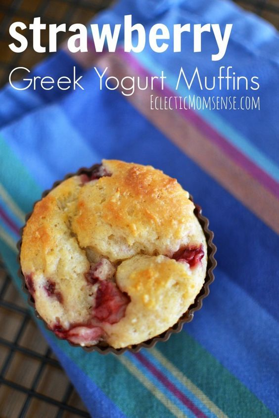 Delicious, moist and protein packed strawberry greek yogurt muffins.