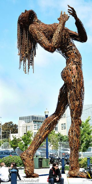 """Karen Cusolito & Dan Das Mann, """"Ecstasy"""", Statue, Recycled chains and Salvaged steel. Additional Information: """"She stands 30 feet tall, weighs six tons!"""" -"""