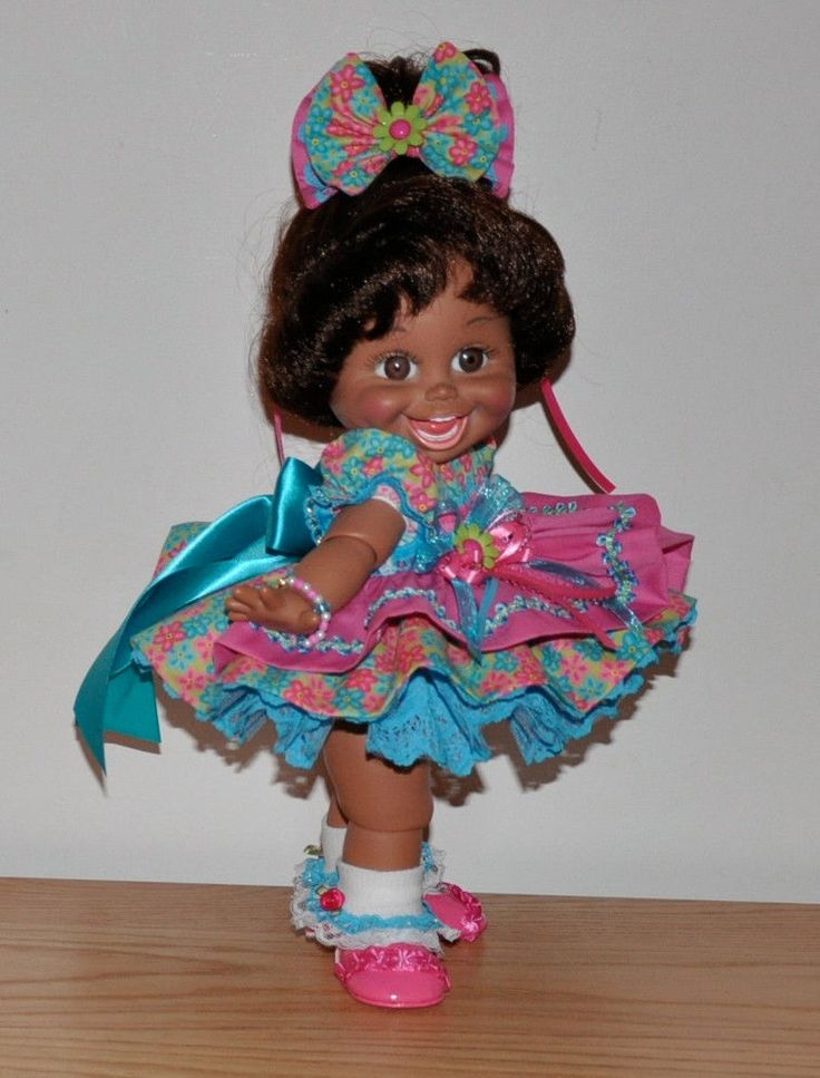 ~BLUE LACE & MULTI COLOR FLOWERS DRESS~ fits Galoob Baby Face Dolls *HANDMADE*52.00