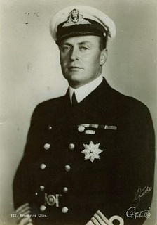 """King Olav V of Norway (2 July 1903--17 January 1991), only son of Queen Maud of Norway (nee Princess Maud of Wales).  Olav was born Prince Alexander of Denmark and became Crown Prince Olav at 2 when his father was elected king of Norway in 1905.  As ruler Olav was immensely popular and became known as """"The People's King"""".  At his death he was the last surviving grandchild of King Edward VII of Britain."""