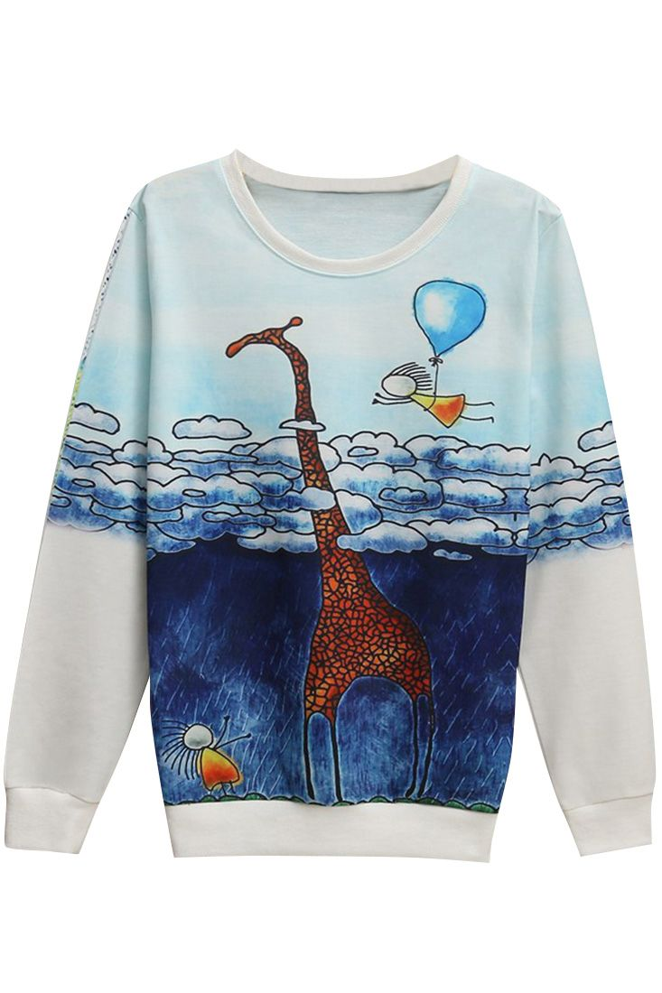 The sweatshirt is featuring cartoon pattern. Long sleeve. O neck. Loose fit.