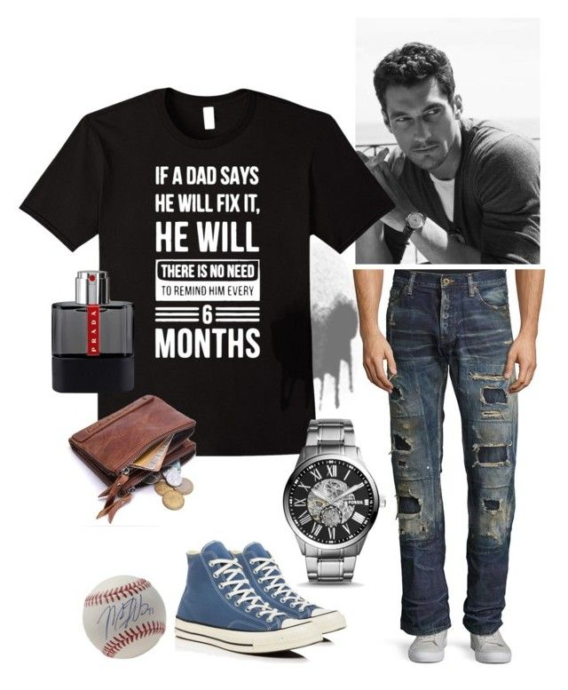 Dad Can Fix Everything by familymily on Polyvore featuring PRPS, Converse, FOSSIL, Prada, men's fashion, menswear, men, dad, father and menfashion
