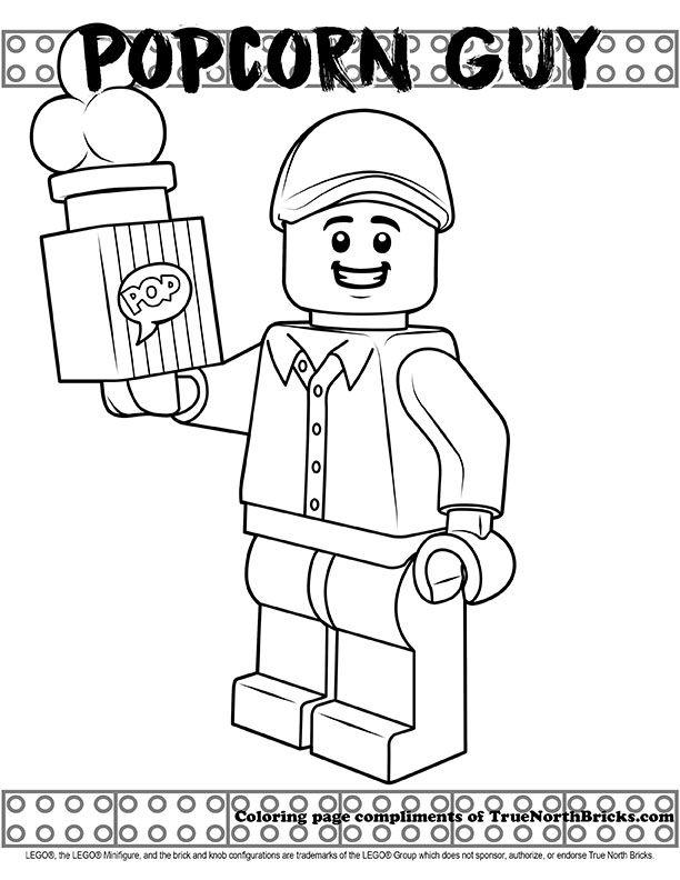 Coloring Page Popcorn Guy True North Bricks Lego Coloring Pages Coloring Pages Lego Coloring
