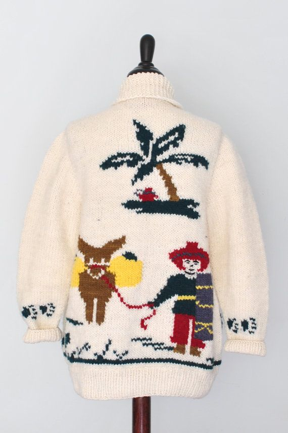 Womens ski sweater, new Cowichan knit from a vintage Mary Maxim Pattern, Mexicana on Etsy, $139.00