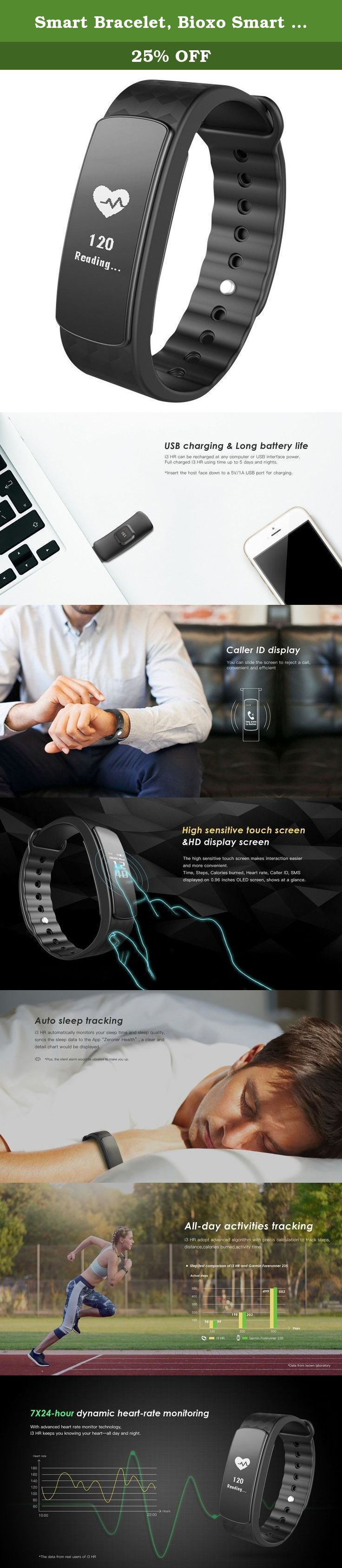 """Smart Bracelet, Bioxo Smart Fitness Bracelets Heart Rate Monitor 0.96"""" OLED Touch Screen Waterproof Smartwatch Wristband Sleep Tracker for iPhone 7/ 7 Plus/ 6s/ 6s Plus, Android Smartphone, Black. Specifications: 1.Screen Size: 0.96 OLED 2.Screen resolution: 128*64 3.Weight: 19g 4.Product size: 49.0*19*10mm 5.Ingress Protection: IP67 6.System Requirement: iOS 8.0;Android 4.4 or Above (not for Windows phone) 7.Wrist strap: 252mm 8.Battery life:UP to 5-7 days 8.Battery capacity:75mAh..."""