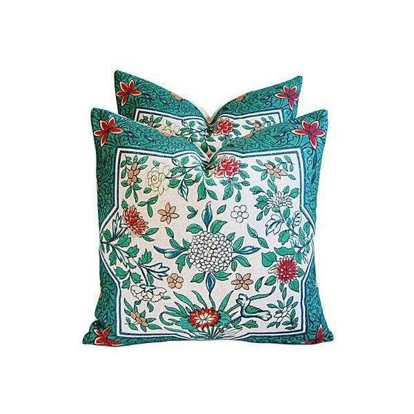 Imperial Emerald Linen Down/Feather Pillows - Pair ($299) ❤ liked on Polyvore featuring home, home decor, throw pillows, pillows, contemporary throw pillows, set of 2 throw pillows, floral throw pillows, contemporary home decor and star throw pillow