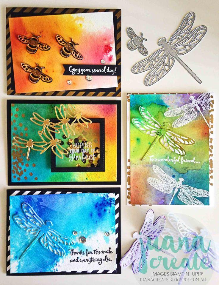 Dragonfly Dreams Bundle. Fun watercolour backgrounds using Brusho Crystal Watercolours. Juana Create.