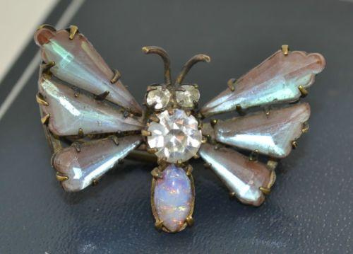 Rare-Antique-Victorian-saphiret-Papillon-Insecte-BROCHE-BROCHE-DENTELLE-rare