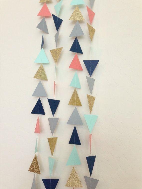 Navy, Mint, Grey, Coral, Gold Geometric Triangles Garland - Baby Shower Garland, Birthday Garland, Party Decor,Nursery Garland,Bridal Shower... by denise.su