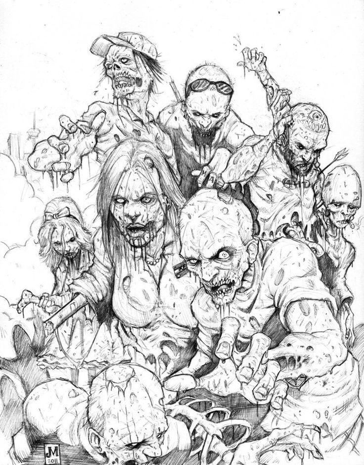 картинки зомби в карандаше хочу показать