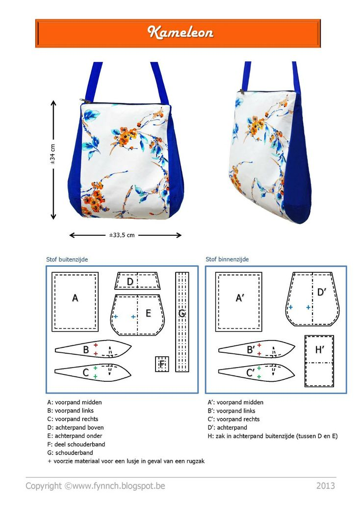 Fynn: Patroon: de Kameleon... Free PDF patterns and tutorials for some lovely bags in the Patterns Fynn section.