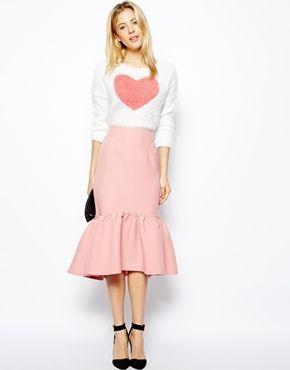 Peplum Hem Pencil Skirt in Texture