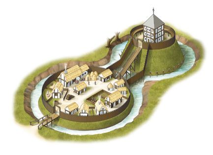 #Motte and #Bailey - the motte is the mound upon which the castle is built and the bailey is the walled village enclosure on lower ground - this is the basic plan for most #medieval #castle layouts