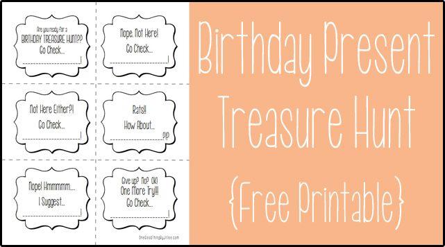 Birthday Present Treasure Hunt Free Printable With Images