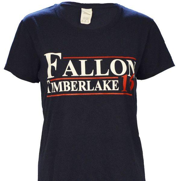 Ladies Cut - Fallon Timberlake for President 2016 on a Ladies Navy Short Sleeve T Shirt