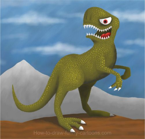 This ferocious cartoon dinosaur is the subject of this original painting tutorial.
