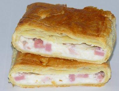 Imagen: www.empanadasmendoza.com   Necesitamos   30 gramos de masa de hojaldre congelada  1 yema de huevo   - Para el relleno de jamón y q...