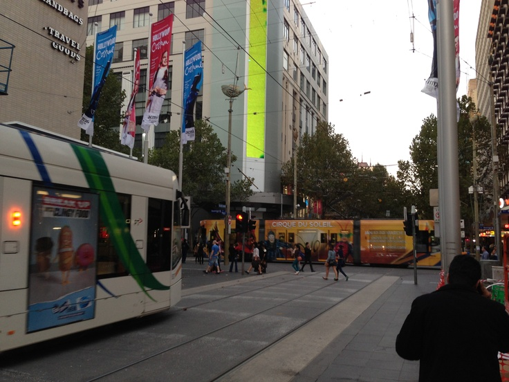 Melbourne Bourke Street and Trams by Dusk