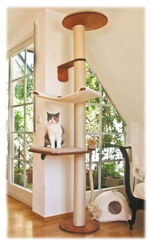 Cat tree that provides plenty of scratching possibilities TOO! #cats #CatTree #CatScratching