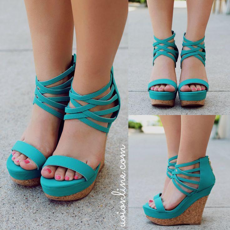 Teal Open Toe Strappy Ankle Wedge FINDER331   UOIOnline.com: Women's Clothing Boutique
