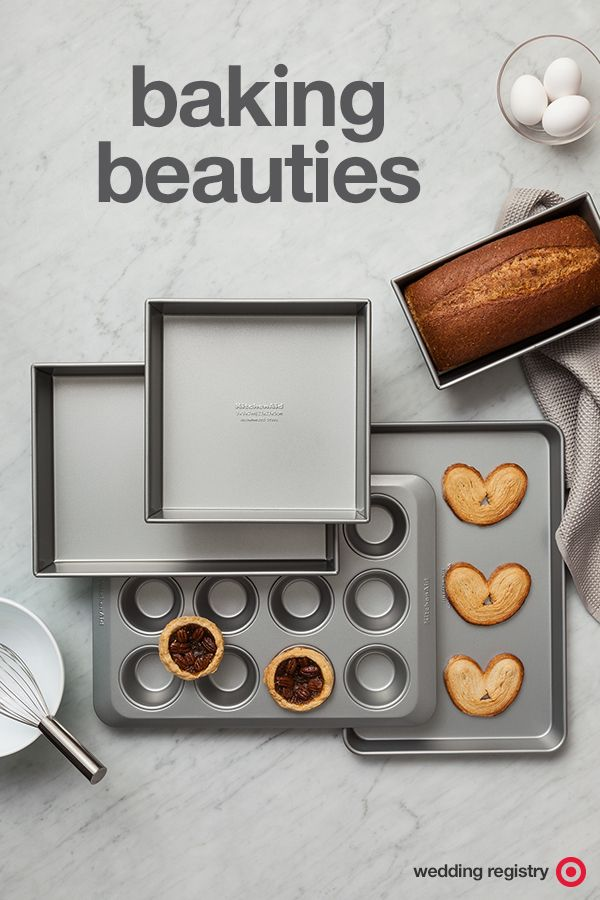 """Baking pans are vital for any kitchen—even if you're not into sweets. Cookie sheets are great for food prep. They keep things contained, make it easy to transport ingredients, and keep your countertops clean. And that muffin pan? It's the secret to bite sized anything, from mini frittatas to personal pies. This set from KitchenAid is a wedding registry must-have. It has everything you need. Plus, it's non-stick and can be thrown in the dishwasher, meaning more """"bake-up-a-storm"""" without the…"""