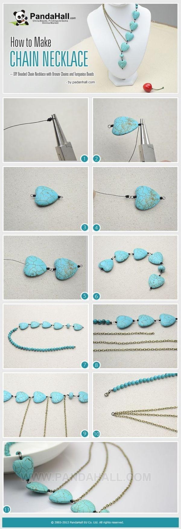 jewelry making tutorials: How to Make Chain Necklace - DIY Beaded Chain ... | Jewelry Making Tu… - DIY Refashion by Stoeps