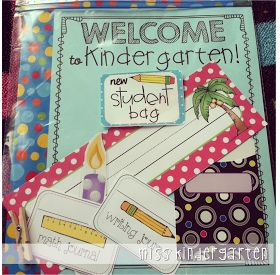 As you are setting up your classroom for the new year, just put aside a few {I would say 4-5} of each item that you are using in gallon sized freezer bags. For example:   *Welcome to Kindergarten letter  *Desk Name Plate  *Birthday Candle  *Labels for math journals and writing journals  Supply List New Student information
