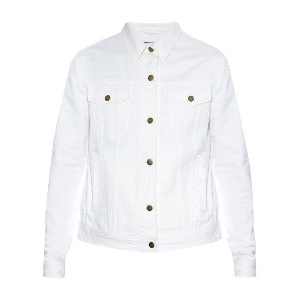 AMI Denim jacket ($248) ❤ liked on Polyvore featuring men's fashion, men's clothing, men's outerwear, men's jackets, white, mens white jacket and mens white denim jacket