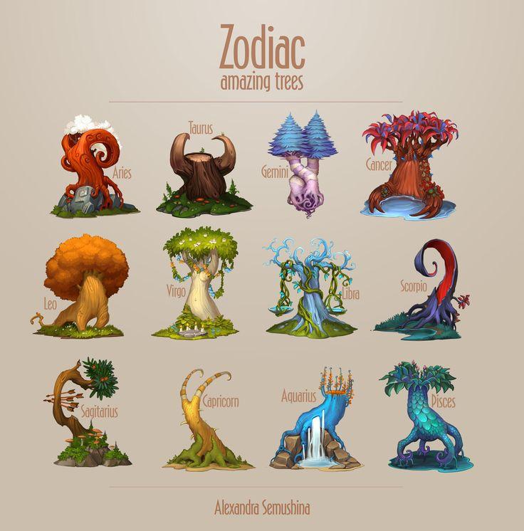 Amazing trees - Zodiac, Alexandra Semushina on ArtStation at https://www.artstation.com/artwork/nZP0e