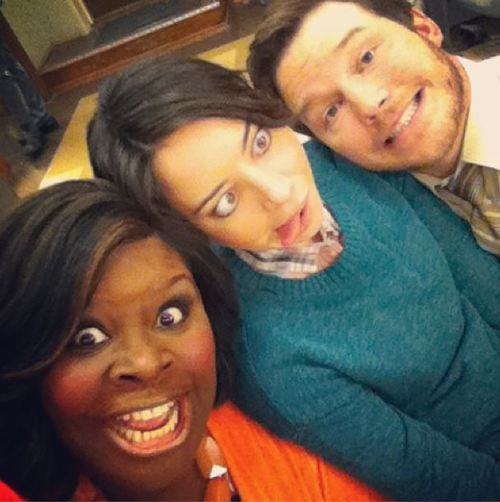 Parks and Rec cast on set - Retta, Aubrey Plaza, and Chris Pratt